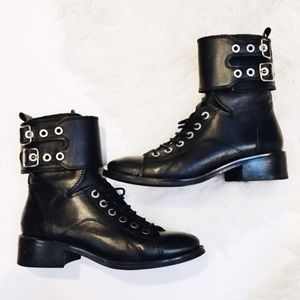 Zara black leather combat boots